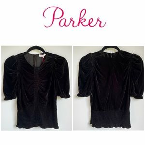 NWT Parker Velvet Crop Puffed Short Sleeve Blouse